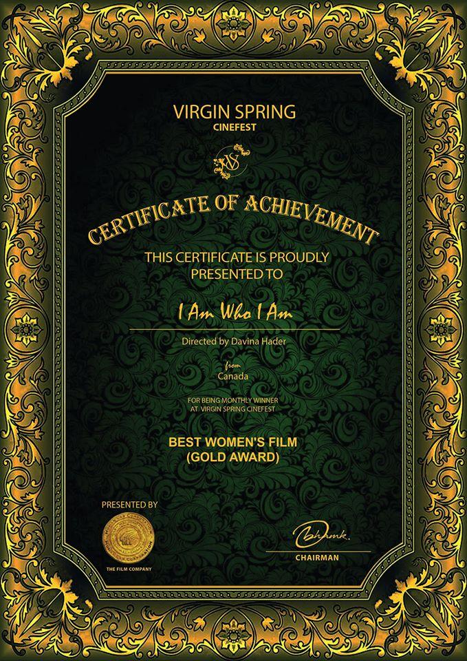 Gold Award for Best Women's Film at Virgin Spring Cinefest